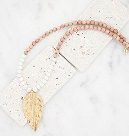 Stone + Stick Leaf Pendant Necklace