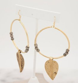 Stone + Stick Leaf Hoop Earring