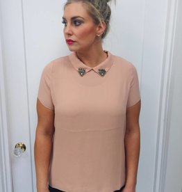 Molly Bracken Pink Collar Blouse w/ Embroidered Collar