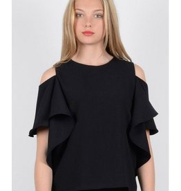 Molly Bracken Black Cold Shoulder Ruffle Top