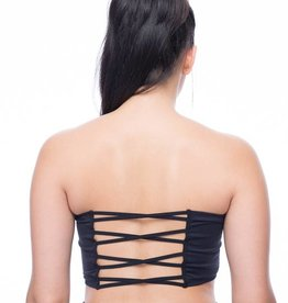 Seams Lovely Black Solid Strappy Back Bandeau