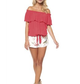 Dex Poppy Red Off The Shoulder Tie Front Blouse