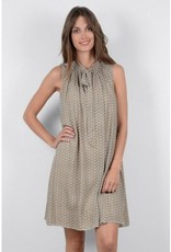 Molly Bracken Beige Print A-Line Dress w/ Lavalier Tie