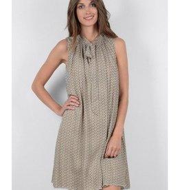 Molly Bracken Beige Print A-Line Dress w/ Lavalier Tie