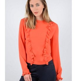 Molly Bracken Red Shift Blouse w/Front Ruffle