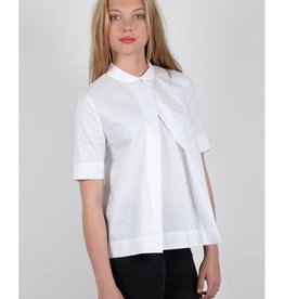 Molly Bracken White Peter Pan Collar Pleated Blouse