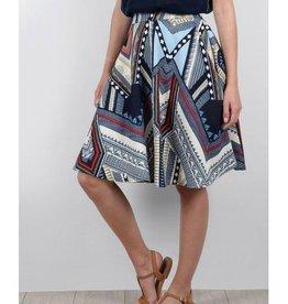 Molly Bracken Navy Print A-Line Skirt