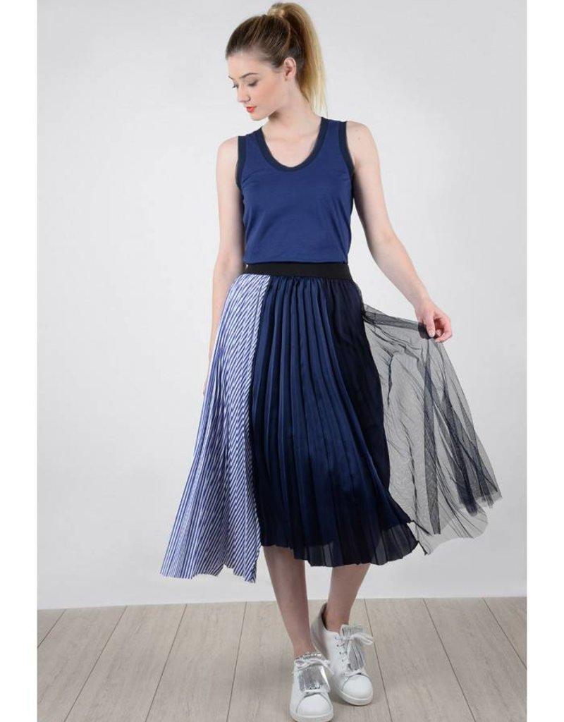 Molly Bracken Navy Midi Skirt w/ Pleating, Tulle, and Stripes