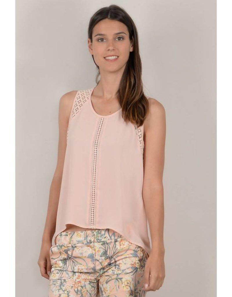 Molly Bracken Pale Pink Lace Detail Tank