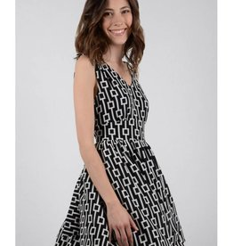 Molly Bracken Black/White Print Fit n' Flare Dress