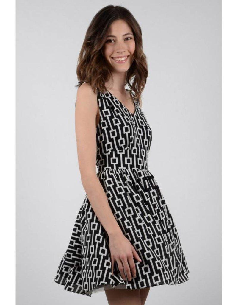 Molly Bracken Black/White Print Fit n' Flare Dress