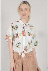 Molly Bracken White Print Collar Shirt w/Tie