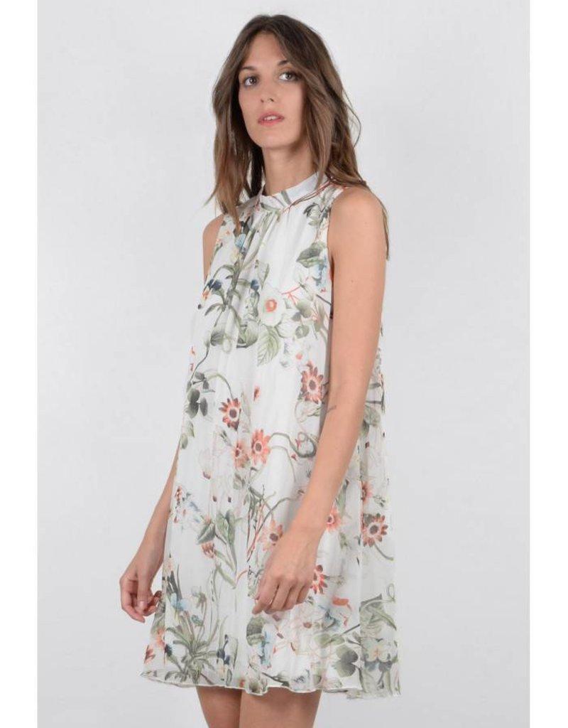 Molly Bracken Off White Delicate Floral Print A-Line Dress
