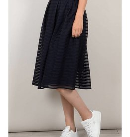 Molly Bracken Navy Stripe Pleated Midi Skirt