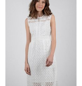 Molly Bracken White Lined Lace Midi Dress
