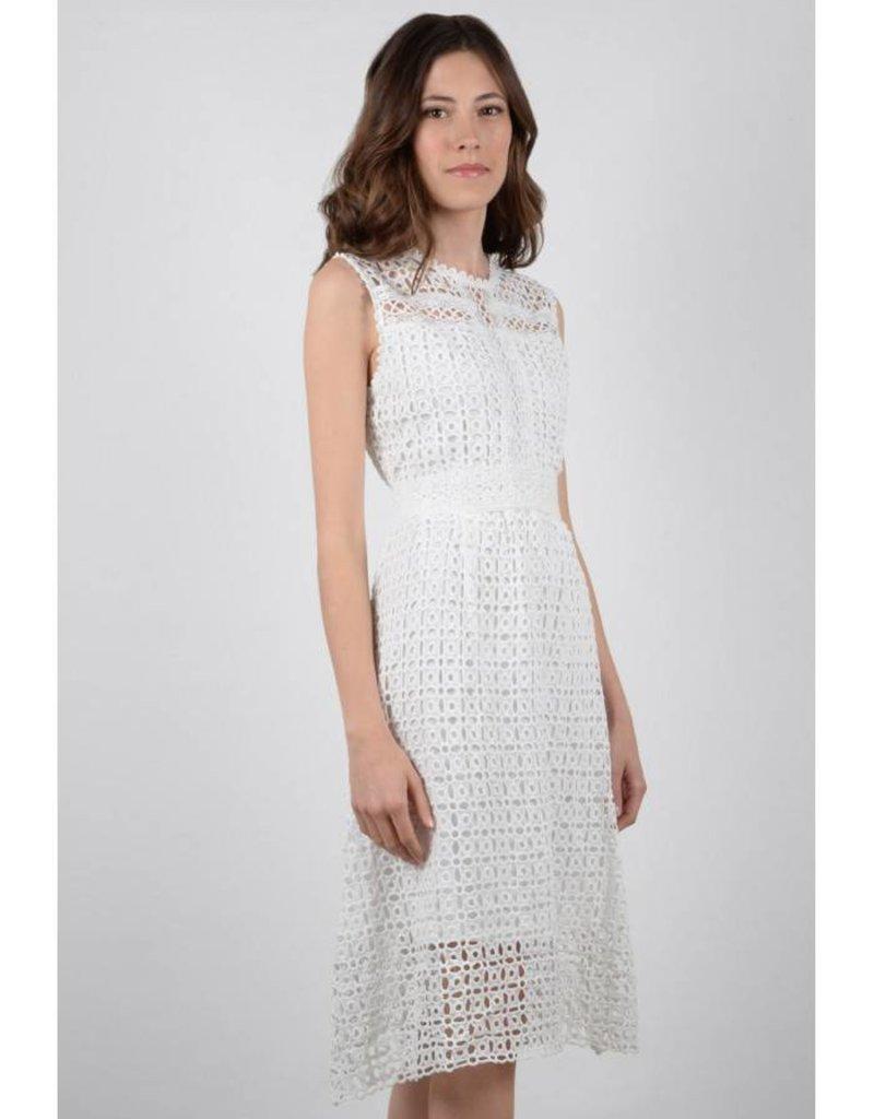 Molly Bracken White Lined Lace Midi Dress