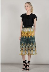 Molly Bracken Saffron Yellow Pleated Midi Skirt