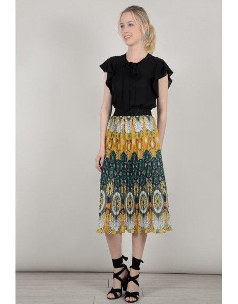 Molly Bracken Saffron Yellow Pleated Midi Skirt