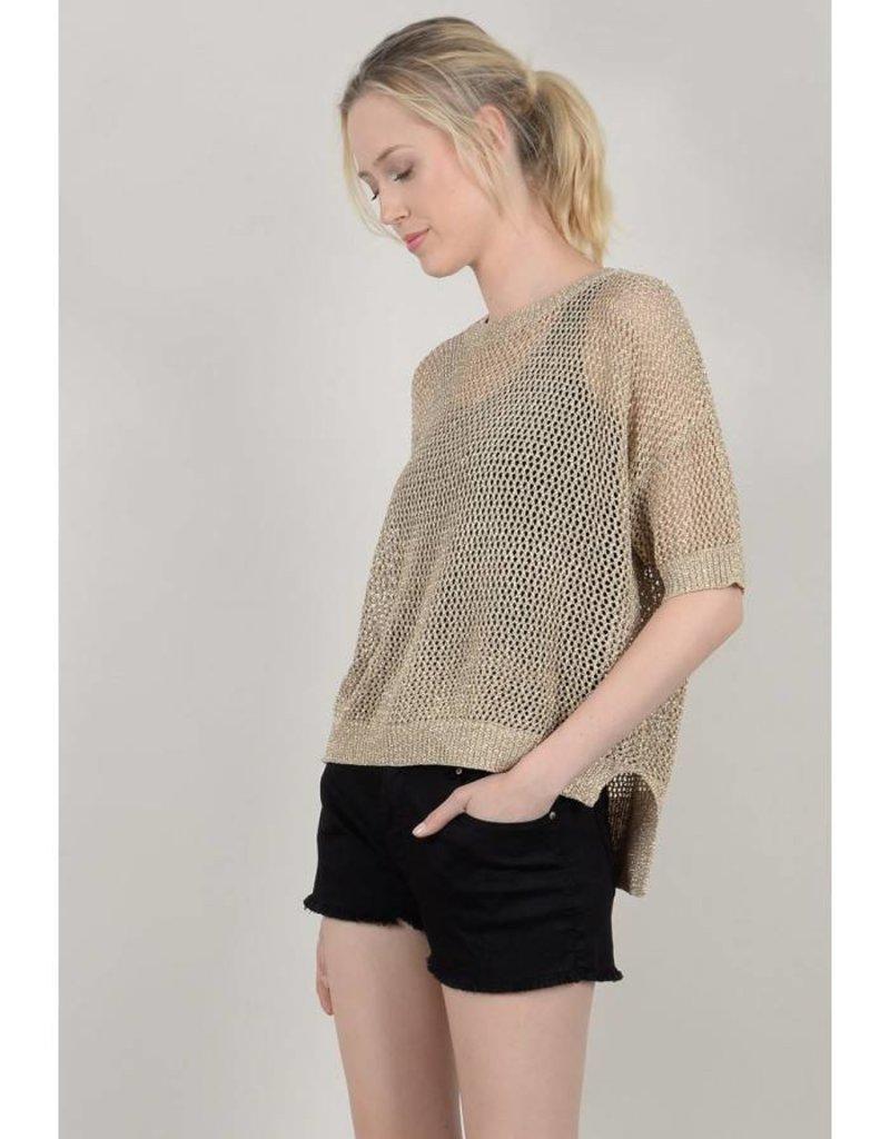 Molly Bracken Gold Iridescent Knit Top