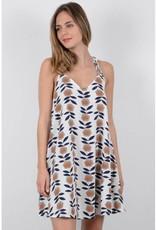 Molly Bracken White Floral Pattern Strappy Dress
