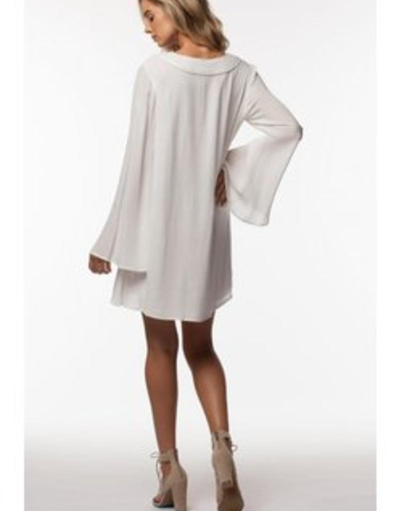 PPLA White A-Line Dress w/ Bell Sleeve