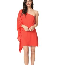 Cupcakes &Cashmere Coral Asymmetric Shift Dress