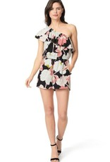 Cupcakes &Cashmere Water Lilies Printed One Shoulder Flounce Romper