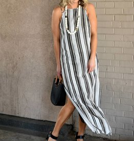 Cupcakes &Cashmere Ivory Printed Stripe Maxi Dress w/Strap Detail