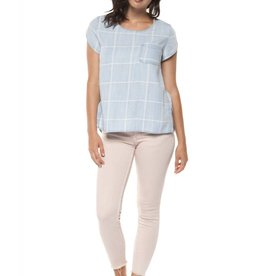 Dex Blue Check Chest Pocket Blouse