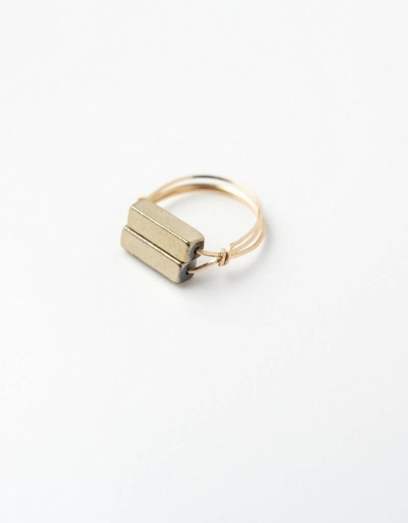 Sarah Briggs Rockhampton Two Bar Stone Ring 14k