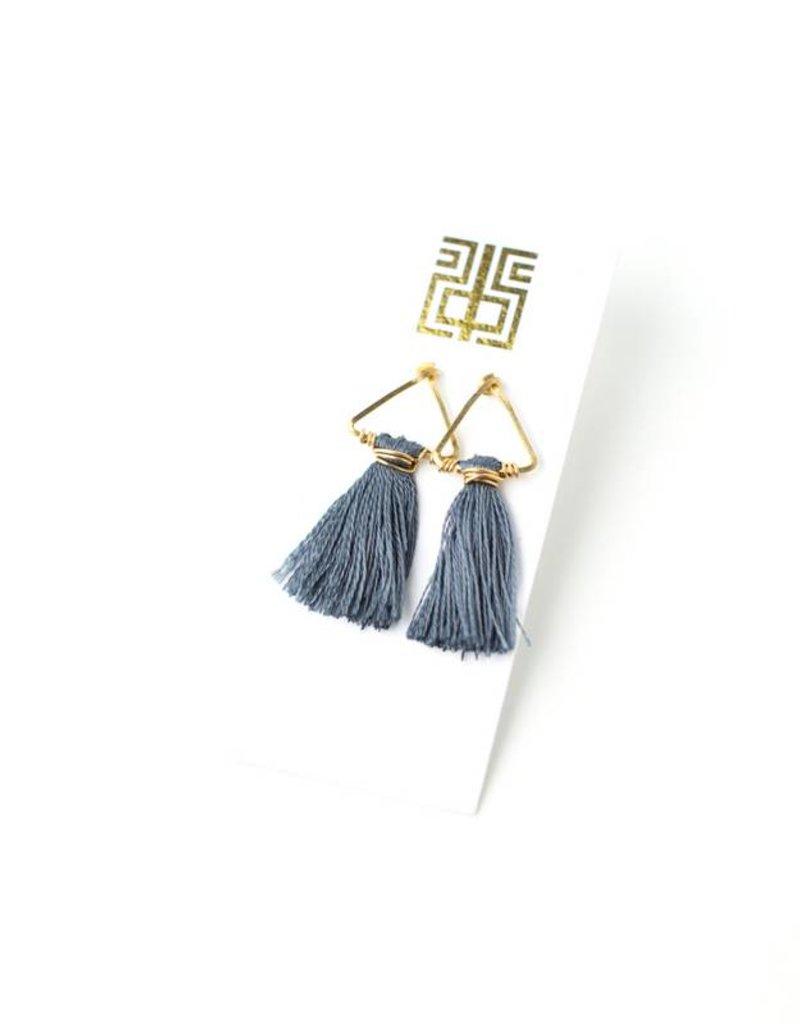 Sarah Briggs Small Wire Triangle Earring w/Silk Tassel