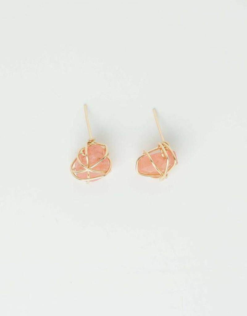 Sarah Briggs Lyon Semiprecious Cage Wrapped Post Earring