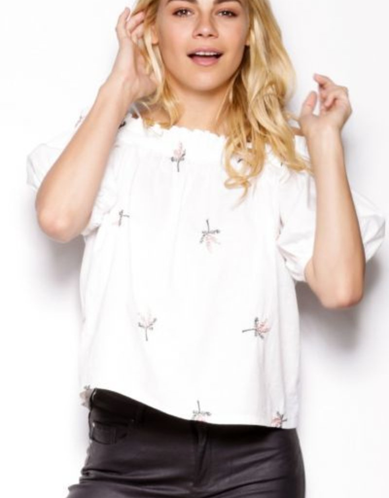 Pink Martini White Cold Shoulder Blouse w/Floral Embroidery