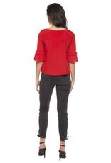 Dex Crimson Tiered Bell Sleeve Top