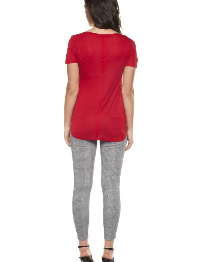 Dex Crimson Hi-Lo V-Neck Tee