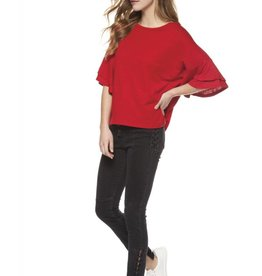 Dex True Red Tiered Bell Sleeve Top