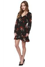 Dex Black/Red Floral Faux Wrap Dress w/ Ruffle Detail