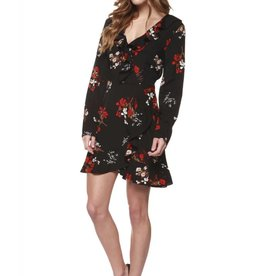 Dex Black/Red Floral Faux Wrap Dress w/ Ruffle Detail
