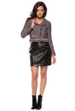 Dex Crimson/Navy Asymmetric Tweed Jacket w/ Zipper