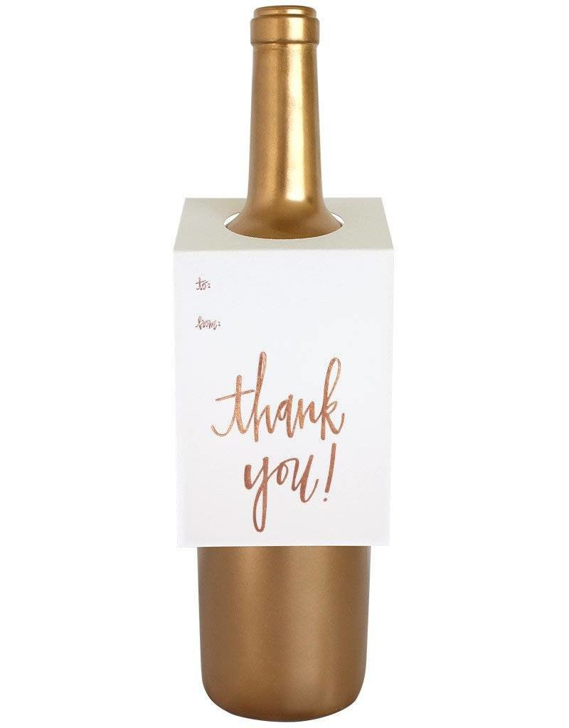 "Chez Gagne ""Thank You"" Rose Gold Wine Card"