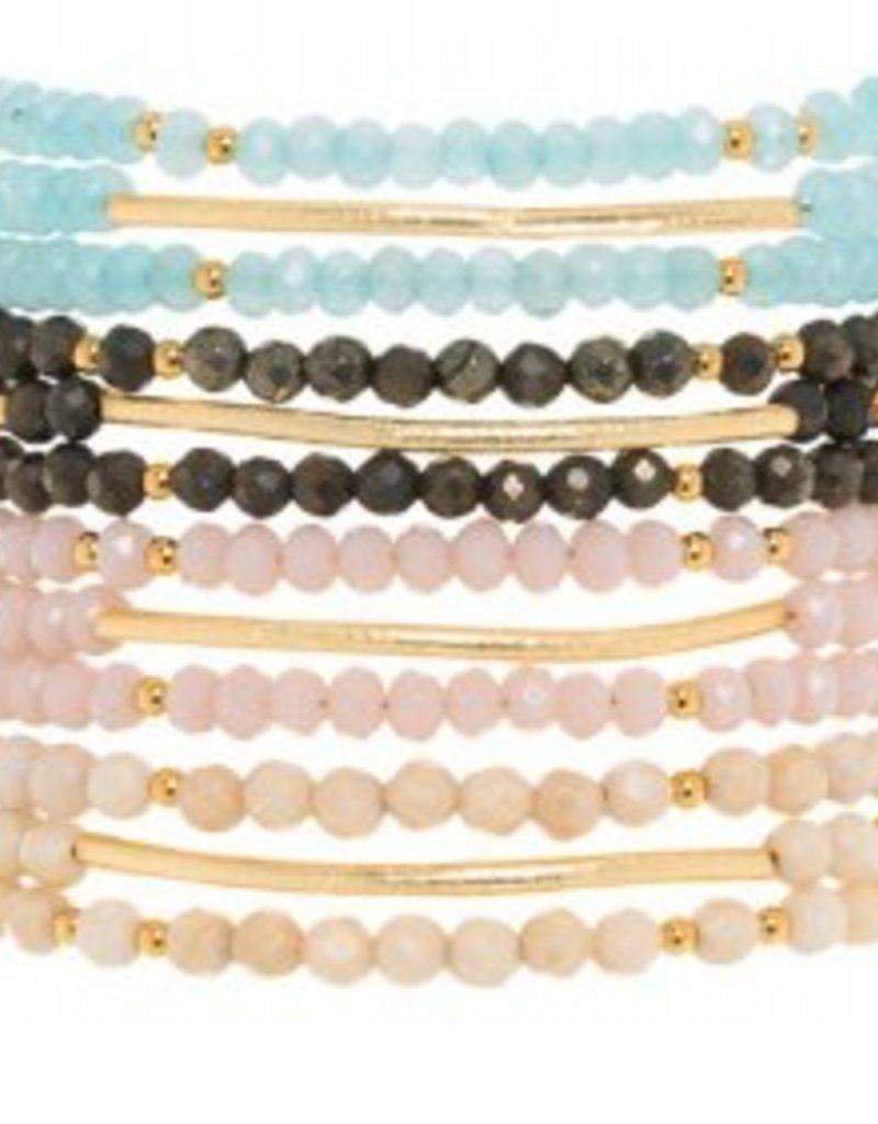 Loves Affect Josie Gold Bar Beaded Bracelet