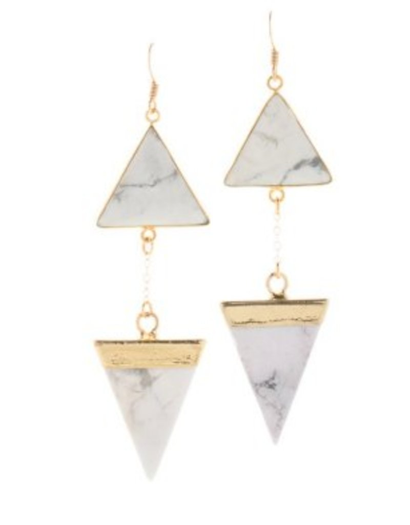 Loves Affect Tiana White Turquoise Triangle Dangle Earring