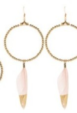 Loves Affect Brenna Hoop Earring w/Gold Dipped Feather