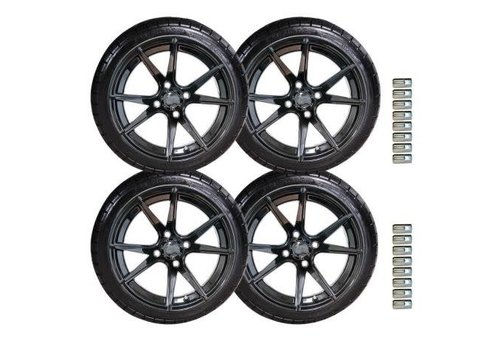 "E-Z-GO 14"" APOLLO GLOSS BLACK WHEEL / 205/35-14 KZT RADIAL TIRE"