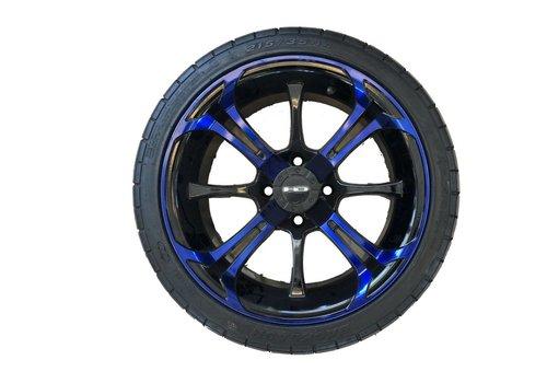 E-Z-GO SET,14 B.LASH W/SPINOUT 14X7 BLUE/BLK
