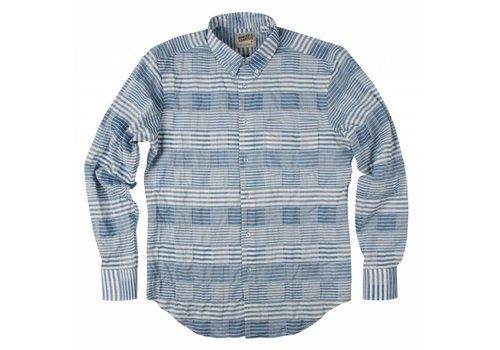 Naked & Famous Striped Windowpane Reg. Shirt Blue