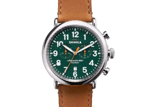 Runwell  Chrono 47mm, Tan Leather Strap