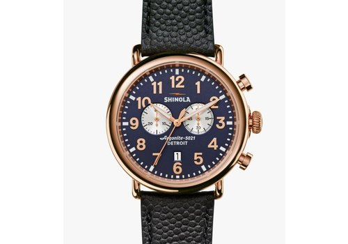Runwall Chrono 47mm 2 Eye, Navy Leather Strap