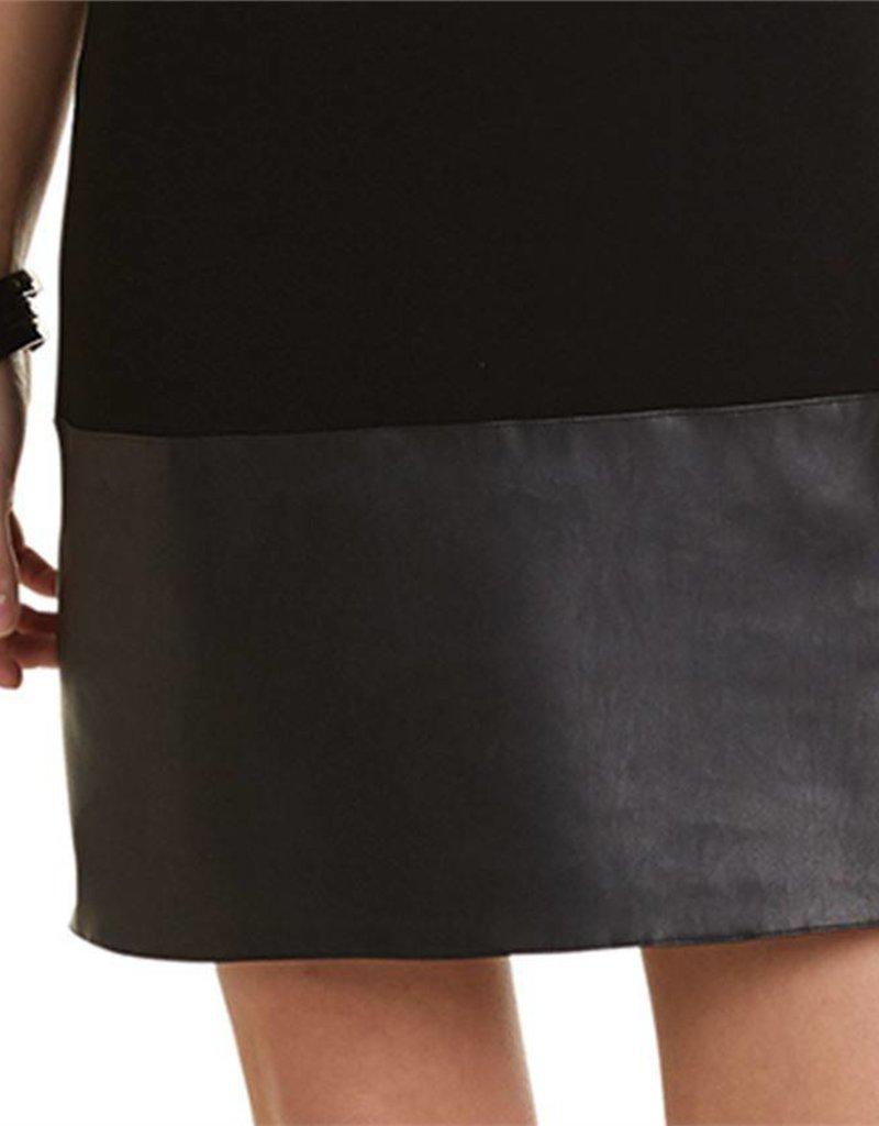 Mudpie Austin Black Shift Dress w Faux Leather