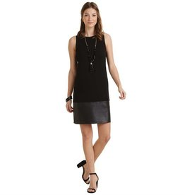 Mudpie Austin Black Shift Dress w Faux Leather